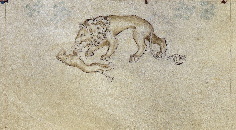 Londres- British Library- Royal 2 B VII- f-86v - Le lion ressuscite ses petits mort-ne-s trois jours apre-s leur naissance