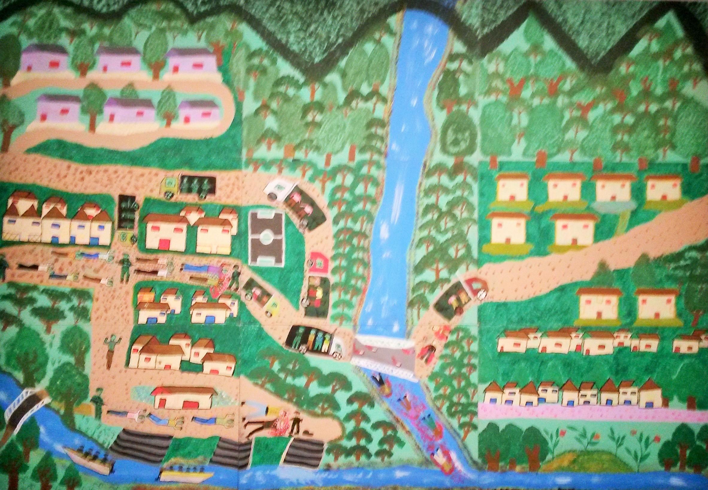 Silfredo, Terreur et desespoir pour le paramilitarisme, peinture vinylique sur panneau de bois, Fondation Puntos de Encuentro